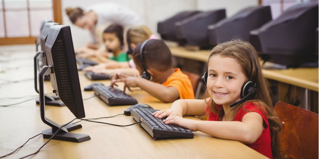 children learning about computers